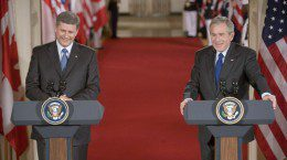 Stephen Harper and George Bush