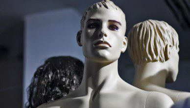 Male mannequin with light skin in store display